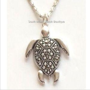 "Jewelry - Sea Life Turtle Necklace Silver Marcasite 17"""